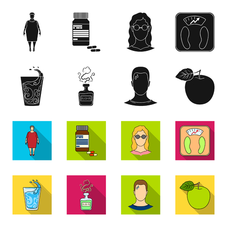 A glass of water, a bottle of alcohol, a sweating man, an apple. Diabeth set collection icons in black,flet style vector symbol stock illustration .