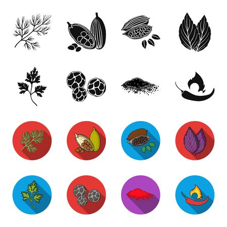 Ptrushka, black pepper, paprika, chili.Herbs and spices set collection icons in black, flat style vector symbol stock illustration web.