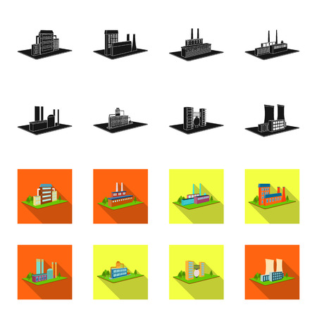 Processing factory,metallurgical plant. Factory and industry set collection icons in black,flet style isometric vector symbol stock illustration . Иллюстрация