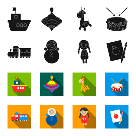 Train.kukla, picture.Toys set collection icons in black,flet style vector symbol stock illustration . Ilustrace