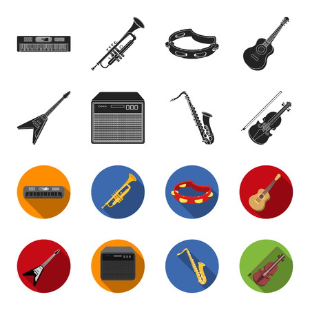 Music instruments set collection icons Illustration