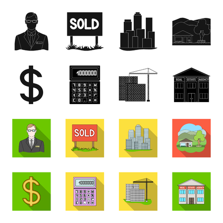 Calculator, dollar sign, new building, real estate offices. Set collection icons in black, flat style vector symbol stock illustration web.
