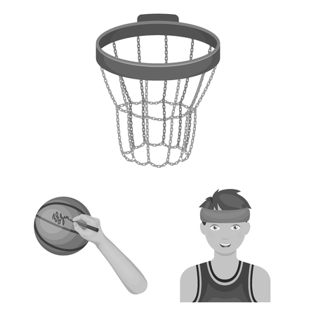 Basketball and attributes monochrome icons in set collection for design. Basketball player and equipment vector symbol stock web illustration.