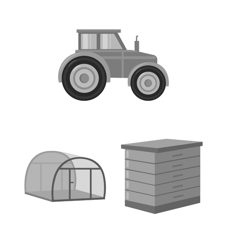 Farm and gardening monochrome icons in set collection for design. Farm and equipment vector symbol stock  illustration. Stock Illustratie