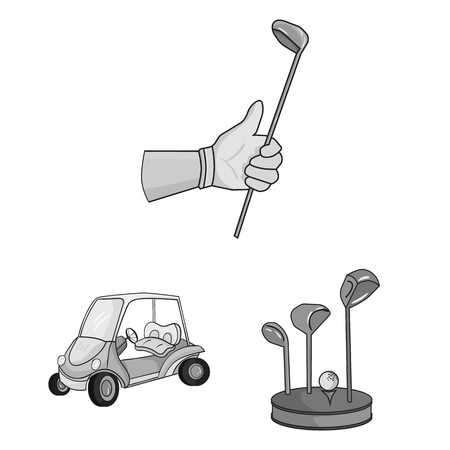 Golf and attributes monochrome icons in set collection for design.Golf Club and equipment vector symbol stock  illustration. Illustration
