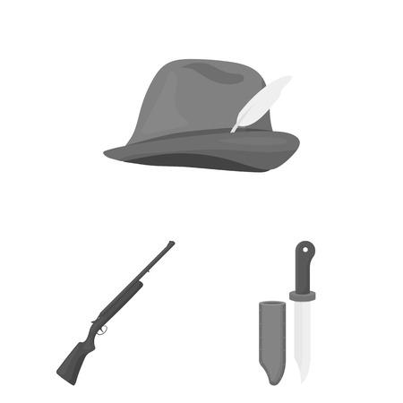 Hunting equipment vector illustration set