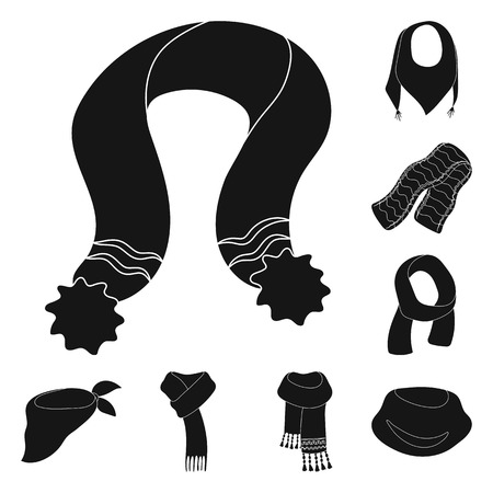 Scarf and Shawl black icons in set collection for design. Clothes and Accessory vector symbol stock illustration. Иллюстрация