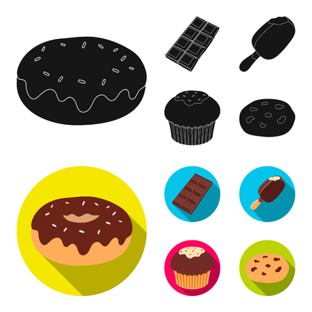Donut with chocolate, zskimo, shokolpada tile, biscuit.Chocolate desserts set collection icons in black, flat style vector symbol stock illustration .
