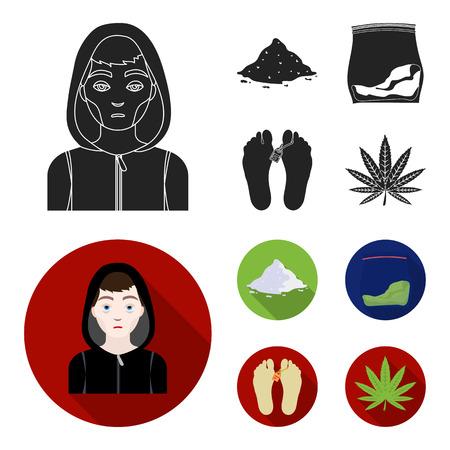 Addict, cocaine, marijuana, corpse.Drug set collection icons in black, flat style vector symbol stock illustration web. Illustration