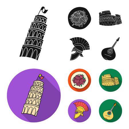 Pisa tower on flat style vector symbol stock illustration .