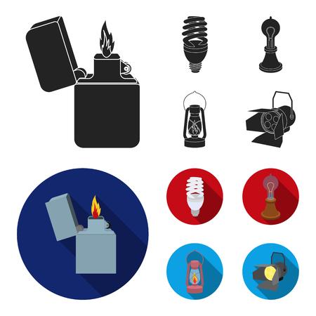 Lighter, economical light bulb, edison lamp, kerosene lamp.Light source set collection icons in black, flat style vector symbol stock illustration web.
