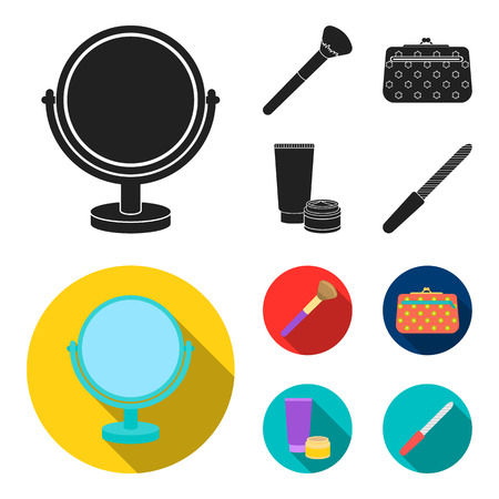 Table mirror, cosmetic bag, face brush, body cream.Makeup set collection icons in black, flat style vector symbol stock illustration web.