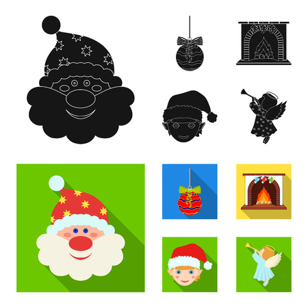 Santa Claus, dwarf, fireplace and decoration black, and colored flat icons in set collection for design. Christmas vector symbol stock illustration.
