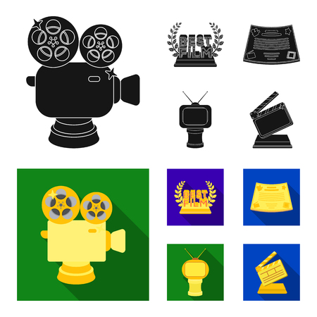 Silver camera. A bronze prize in the form of a TV and other types of prizes.Movie awards set collection icons in black, flat style vector symbol stock illustration .