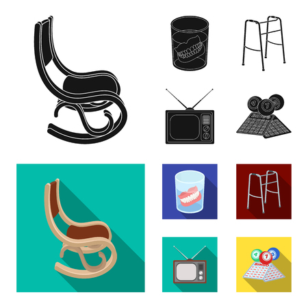 Denture, rocking chair, walker, old TV.Old age set collection icons in black, flat style vector symbol stock illustration web.