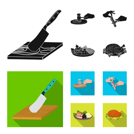 Cutlass on a cutting board, hammer for chops, cooking bacon, eating fish and vegetables. Eating and cooking set collection icons in black, flat style vector symbol stock illustration .
