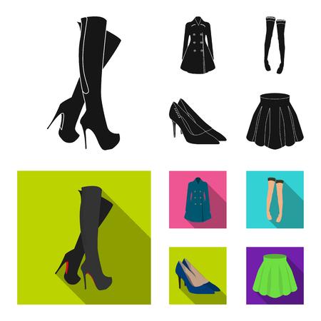 Set of womens fashion clothing in black  flat style illustration. 向量圖像