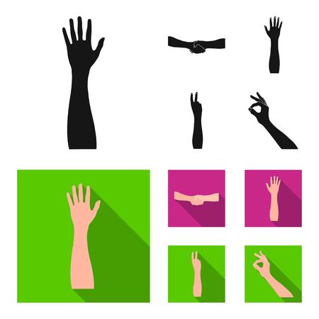 Set van gebarentaalpictogrammen in zwarte vlakke stijlillustratie.