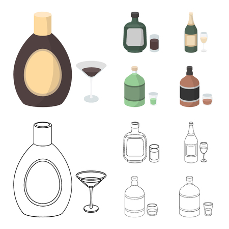 Liquor chocolate, champagne, absinthe, herbal liqueur.Alcohol set collection icons in cartoon,outline style vector symbol stock illustration . Vector Illustration