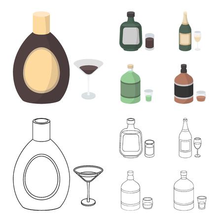 Liquore al cioccolato, champagne, assenzio, liquore a base di erbe Icone stabilite della raccolta dell'alcool nel fumetto, illustrazione delle azione di simbolo di vettore di stile del profilo. Vettoriali