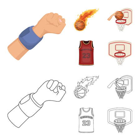 Basketball and attributes cartoon,outline icons in set collection for design.Basketball player and equipment vector symbol stock  illustration.
