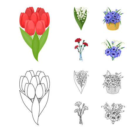 A bouquet of fresh flowers cartoon,outline icons in set collection for design. Various bouquets vector symbol stock  illustration.