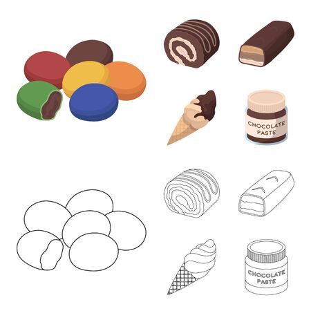 Dragee, roll, chocolate bar, ice cream. Chocolate desserts set collection icons in cartoon,outline style vector symbol stock illustration . Illustration