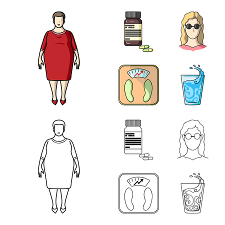 Full woman, a girl with glasses, a scales with exquisite result. Diabeth set collection icons in cartoon,outline style vector symbol stock illustration .
