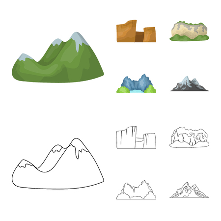 Green mountains with snow tops, a canyon, rocks with forests, a lagoon and rocks. Different mountains set collection icons in cartoon,outline style vector symbol stock illustration .