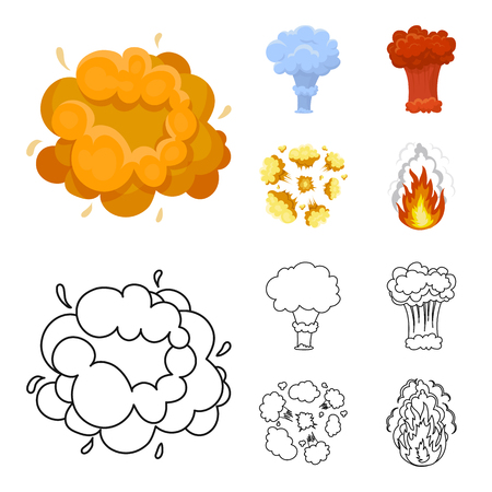 Flame, sparks, hydrogen fragments, atomic or gas explosion. Explosions set collection icons in cartoon,outline style vector symbol stock illustration .