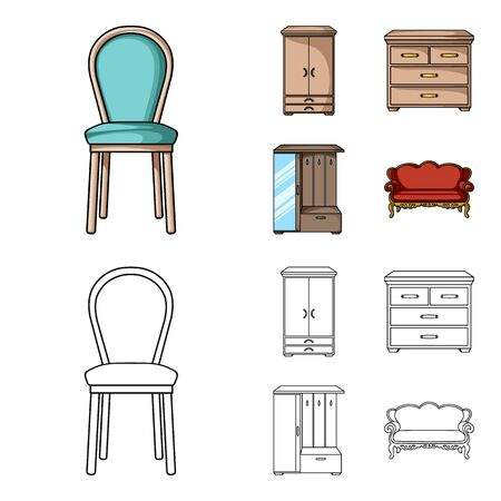Home furniture set collection icons in cartoon,outline style symbol stock illustration .