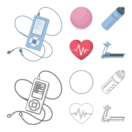 Player, a bottle of water and other equipment for training.Gym and workout set collection icons in cartoon,outline style vector symbol stock illustration . Illustration