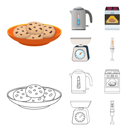 Kitchen equipment icons set collection