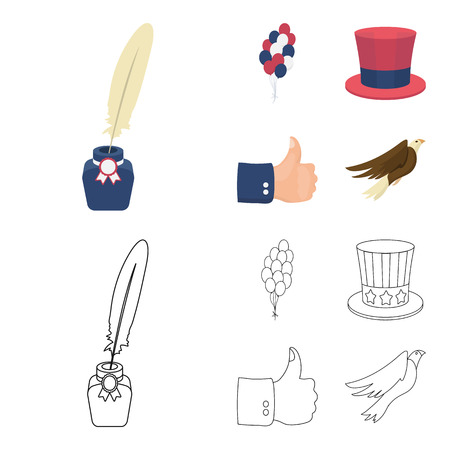 Balloons, inkwell with a pen, Uncle Sam hat. The patriot day set collection icons in cartoon,outline style vector symbol stock illustration web.