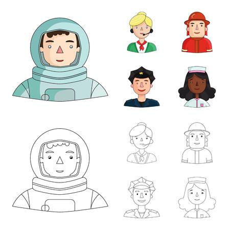 Un astronauta en un traje espacial, un compañero de trabajo con un micrófono, un bombero con casco, un policía con una placa en su gorra. Las personas de diferentes profesiones establecen iconos de colección en dibujos animados, estilo de esquema vector símbolo stock ilustración web.