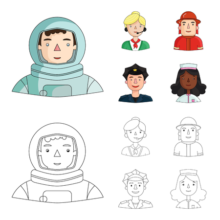 An astronaut in a spacesuit, a co-worker with a microphone, a fireman in a helmet, a policeman with a badge on his cap. People of different professions set collection icons in cartoon,outline style vector symbol stock illustration web. Illustration