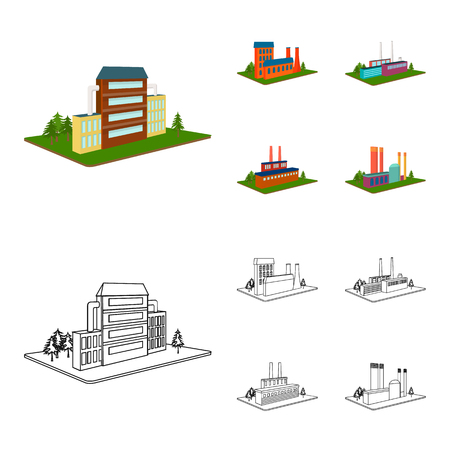 Processing factory,metallurgical plant. Factory and industry set collection icons in cartoon,outline style isometric vector symbol stock illustration .