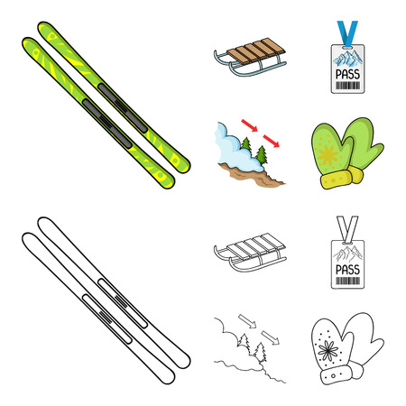 Ski, sled, lifeguard badge, badge avalanche. Ski resort set collection icons in cartoon,outline style vector symbol stock illustration .