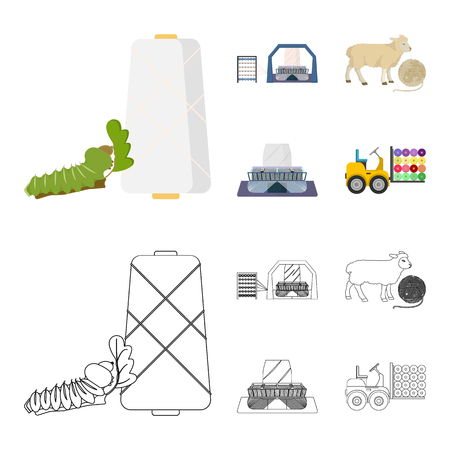 Cotton, coil, thread, pest, and other  icon in cartoon,outline style. Textiles, industry gear icons in set collection
