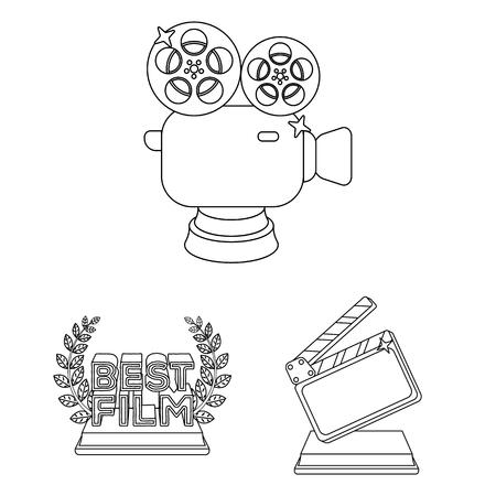 Filmprijzen en prijzen schetsen pictogrammen in setcollectie voor ontwerp. De World Film Academy vector symbool stock web illustratie.
