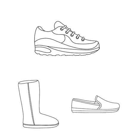 Una varietà di scarpe delineano le icone nella collezione di set per il design. Avvio, scarpe da ginnastica simbolo illustrazione vettoriale web.