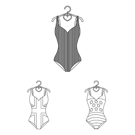 Different types of swimsuits outline icons in sets design on silhouette black with white backdrop illustration. Иллюстрация