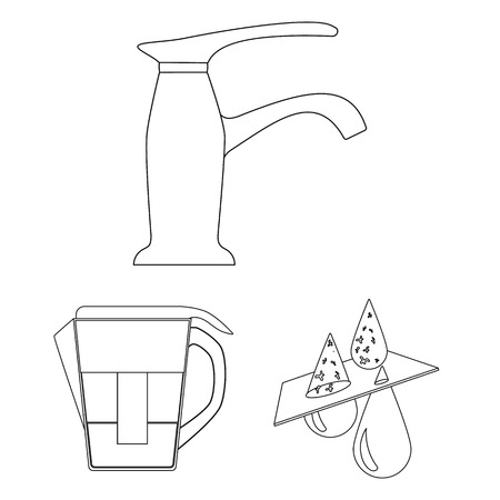Water filtration system outline icons in set collection for design. Cleaning equipment vector symbol stock  illustration.