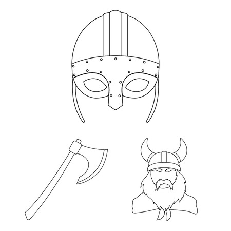 Vikings and attributes outline icons in set collection for design.Old Norse Warrior vector symbol stock web illustration. Vettoriali