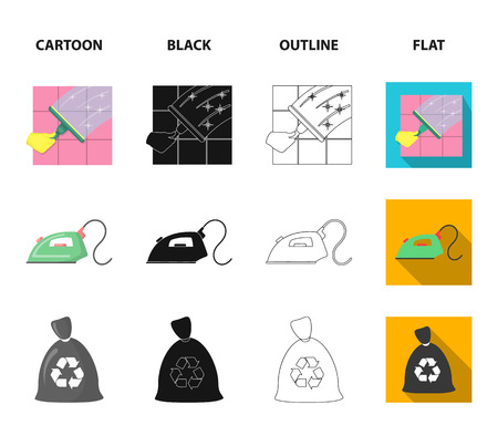 Cleaning and maid cartoon,black,outline,flat icons in set collection for design. Equipment for cleaning vector symbol stock web illustration.