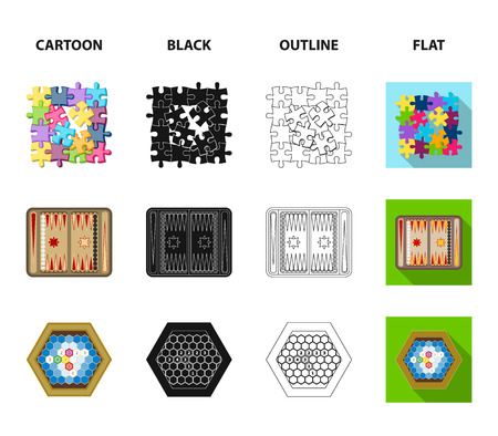 Board game cartoon,black,outline,flat icons in set collection for design. Game and entertainment vector symbol stock web illustration.