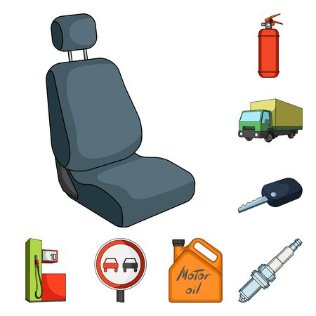 Car, vehicle cartoon icons in set collection for design. Car and equipment vector symbol stock  illustration.