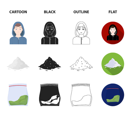 Addict, cocaine, marijuana, corpse.Drug set collection icons in cartoon,black,outline,flat style vector symbol stock illustration