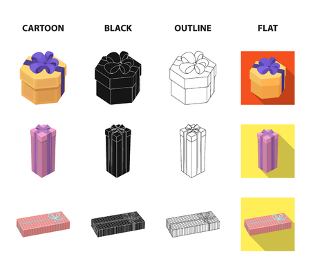 Gift box with bow, gift bag.Gifts and certificates set collection icons in cartoon,black,outline,flat style vector symbol stock illustration Illustration
