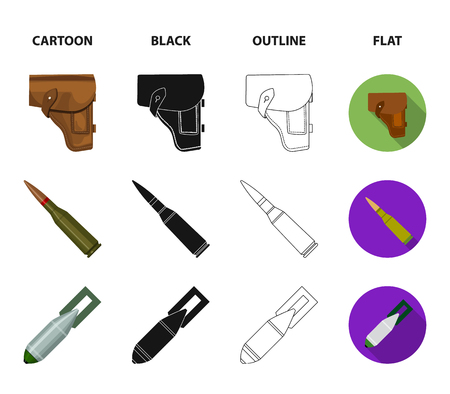 Holster, cartridge, air bomb, pistol. Military and army set collection icons in cartoon,black,outline,flat style vector symbol stock illustration .